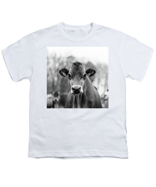 Portrait Of A Dairy Cow In The Rain Stowe Vermont Youth T-Shirt