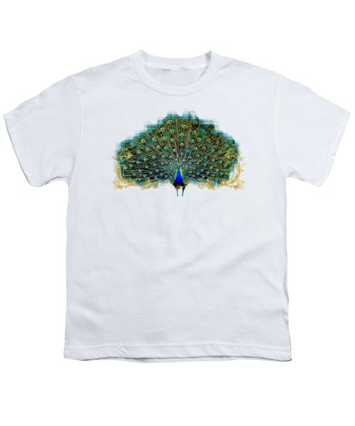 Scroll Swirl Art Deco Nouveau Peacock W Tail Feathers Spread Youth T-Shirt by Audrey Jeanne Roberts