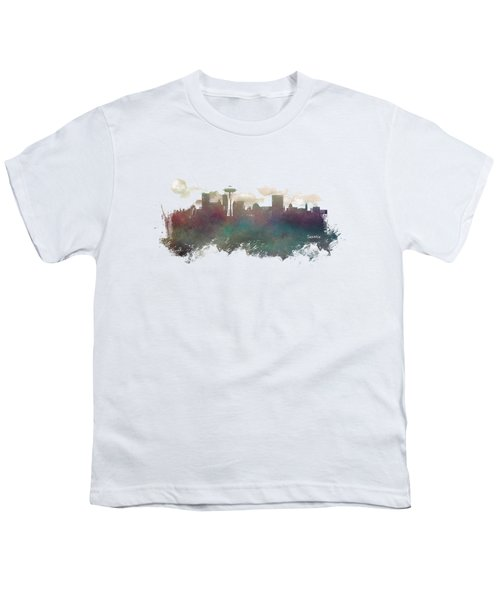 Seattle Washington Skyline Youth T-Shirt by Justyna JBJart