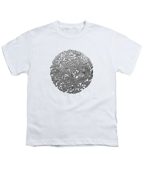 Sliver Chinese Dragon On White Leather Youth T-Shirt by Serge Averbukh