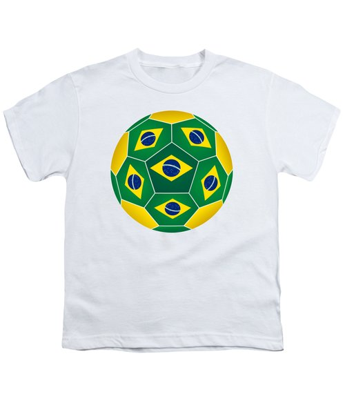 Soccer Ball With Brazilian Flag Youth T-Shirt