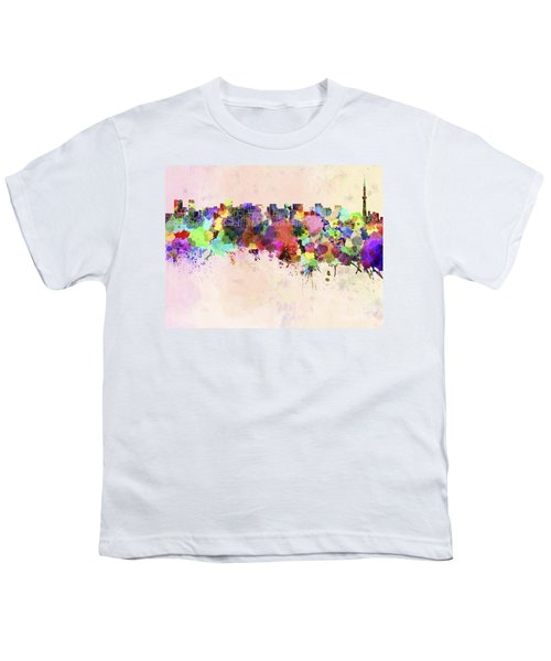 Tokyo Skyline In Watercolor Background Youth T-Shirt by Pablo Romero