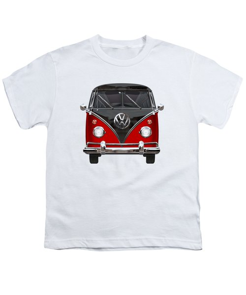 Volkswagen Type 2 - Red And Black Volkswagen T 1 Samba Bus On White  Youth T-Shirt by Serge Averbukh