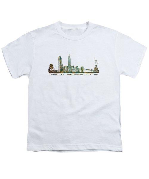New York City Skyline Youth T-Shirt by Justyna JBJart