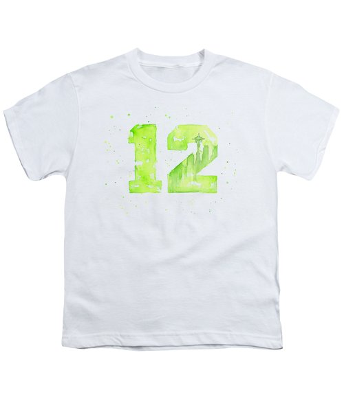 12th Man Seahawks Art Go Hawks Youth T-Shirt by Olga Shvartsur