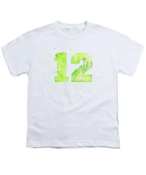 12th Man Seahawks Art Go Hawks Youth T-Shirt