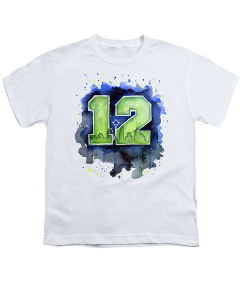 12th Man Seahawks Art Seattle Go Hawks Youth T-Shirt by Olga Shvartsur