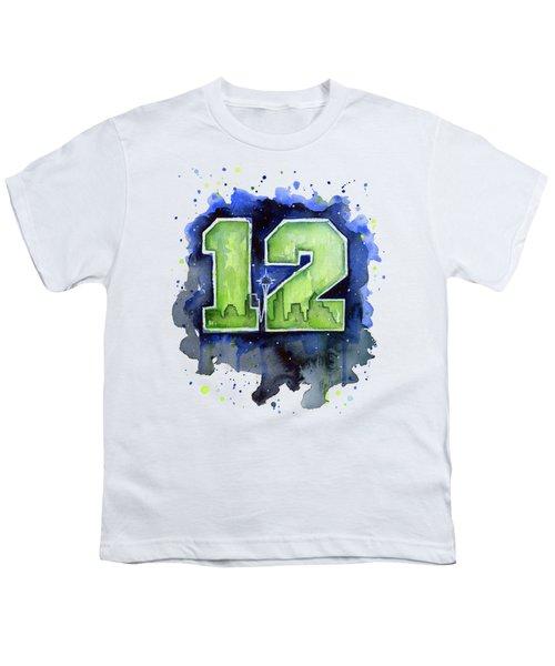 12th Man Seahawks Art Seattle Go Hawks Youth T-Shirt