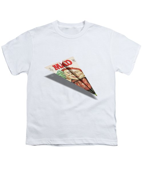 157 Mad Paper Airplane Youth T-Shirt by YoPedro