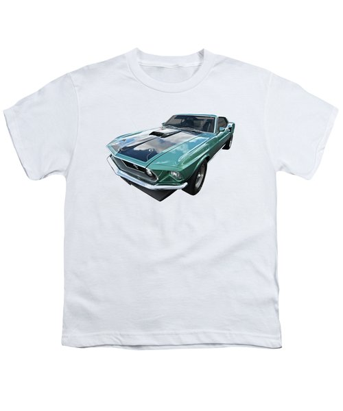 1969 Green 428 Mach 1 Cobra Jet Ford Mustang Youth T-Shirt by Gill Billington
