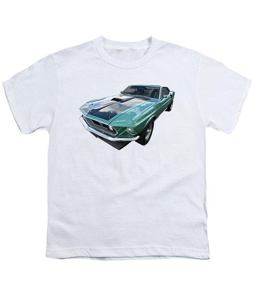 1969 Green 428 Mach 1 Cobra Jet Ford Mustang Youth T-Shirt