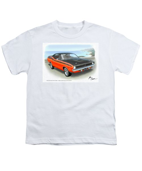 1970 Barracuda Aar  Cuda Classic Muscle Car Youth T-Shirt by John Samsen