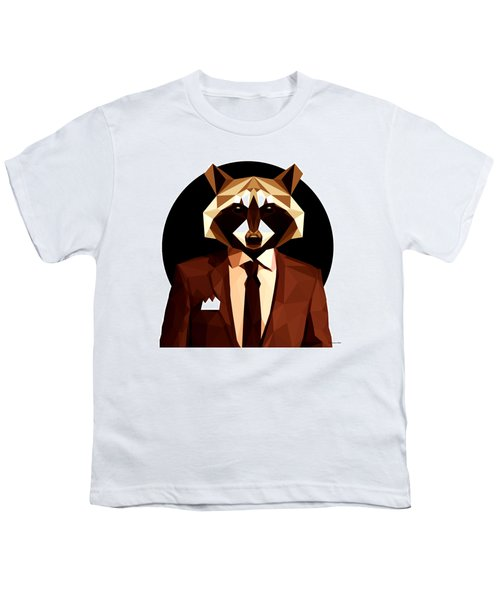 Abstract Geometric Raccoon Youth T-Shirt by Gallini Design
