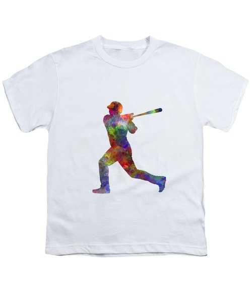 Baseball Player Hitting A Ball Youth T-Shirt by Pablo Romero