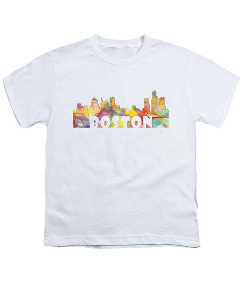 Boston Massachusetts Skyline Youth T-Shirt by Marlene Watson