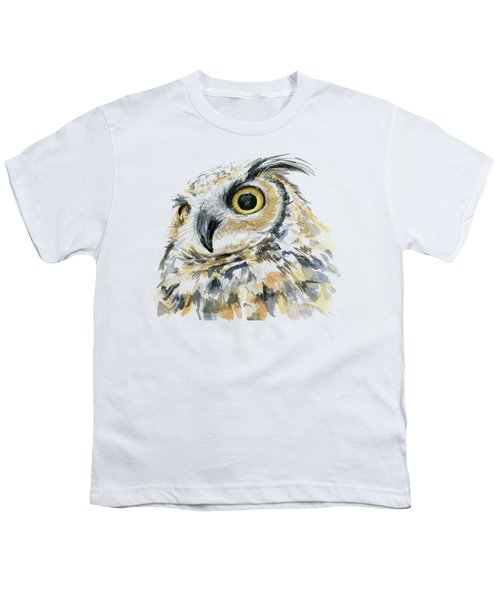 Great Horned Owl Watercolor Youth T-Shirt
