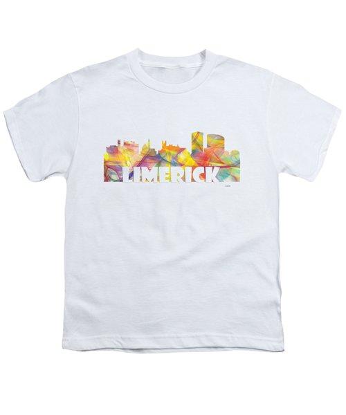 Limerick Ireland Skyline Youth T-Shirt by Marlene Watson