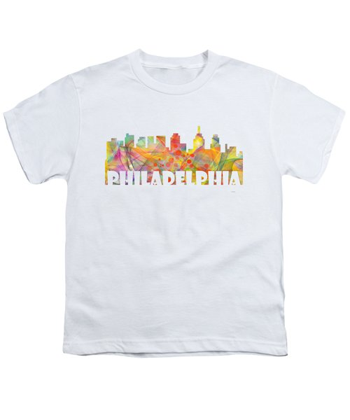 Philadelphia Pennsylvania Skyline Youth T-Shirt by Marlene Watson