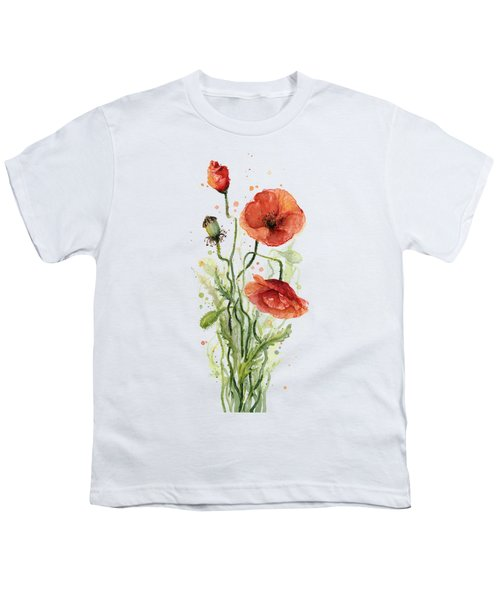 Red Poppies Watercolor Youth T-Shirt