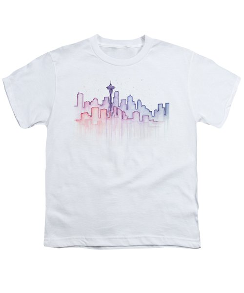 Seattle Skyline Watercolor Youth T-Shirt by Olga Shvartsur
