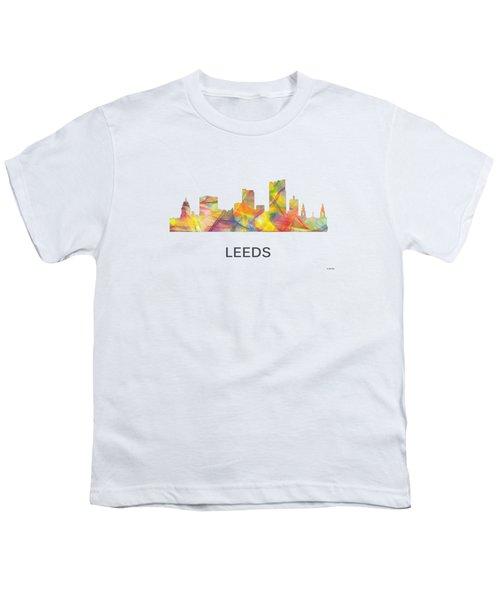 Leeds England Skyline Youth T-Shirt by Marlene Watson