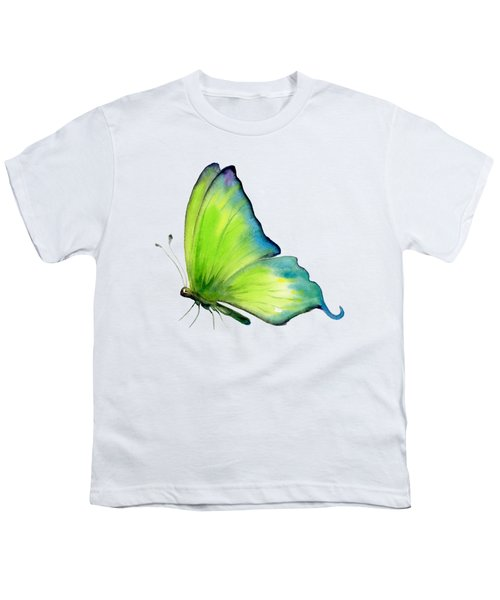 4 Skip Green Butterfly Youth T-Shirt by Amy Kirkpatrick