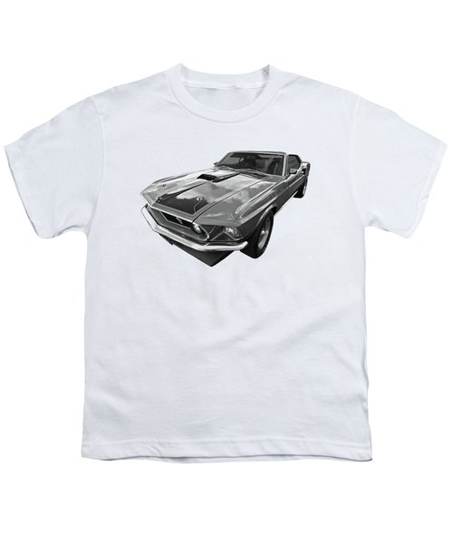 428 Cobra Jet Mach1 Ford Mustang 1969 In Black And White Youth T-Shirt