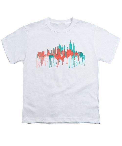 New York New York Skyline Youth T-Shirt by Marlene Watson
