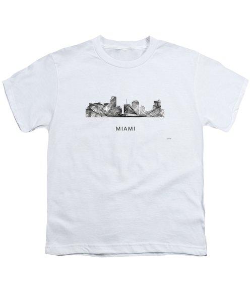 Miami Florida Skyline Youth T-Shirt by Marlene Watson