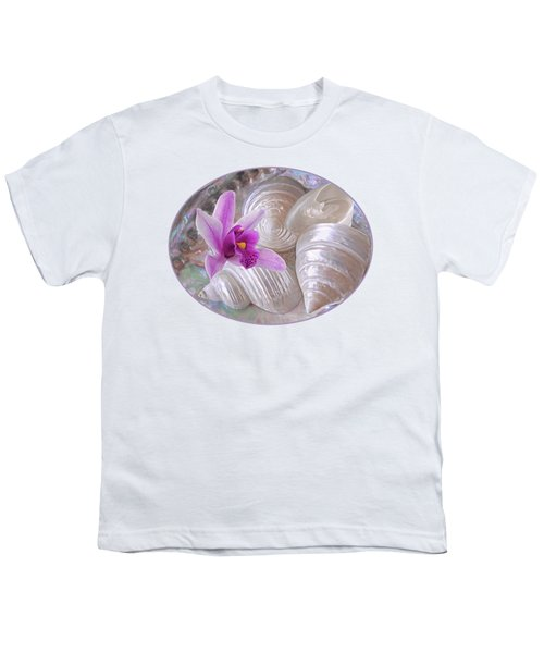 Abalone With Pearl Shells And Purple Orchid Youth T-Shirt