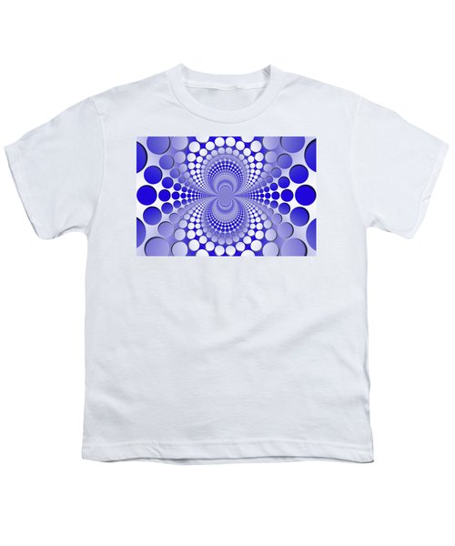 Abstract Blue And White Pattern Youth T-Shirt