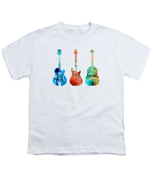 Abstract Guitars By Sharon Cummings Youth T-Shirt by Sharon Cummings
