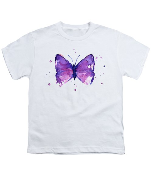 Abstract Purple Butterfly Watercolor Youth T-Shirt