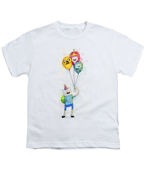Adventure Time Finn With Birthday Balloons Jake Princess Bubblegum Bmo Youth T-Shirt by Olga Shvartsur