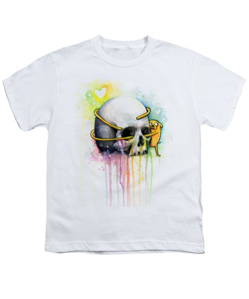 Adventure Time Jake Hugging Skull Watercolor Art Youth T-Shirt