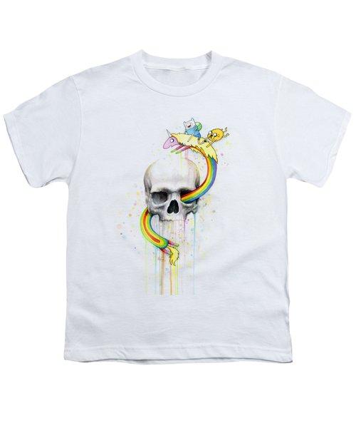 Adventure Time Skull Jake Finn Lady Rainicorn Watercolor Youth T-Shirt