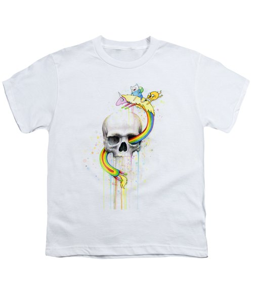 Adventure Time Skull Jake Finn Lady Rainicorn Watercolor Youth T-Shirt