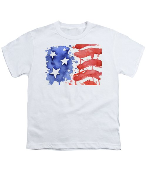 American Flag Watercolor Painting Youth T-Shirt