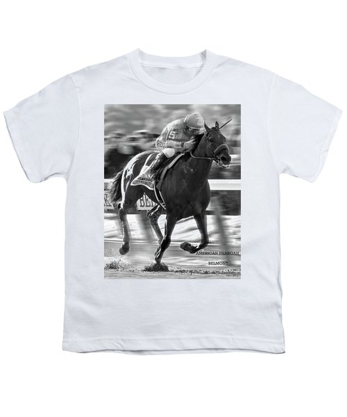 American Pharoah And Victor Espinoza Win The 2015 Belmont Stakes Youth T-Shirt by Thomas Pollart