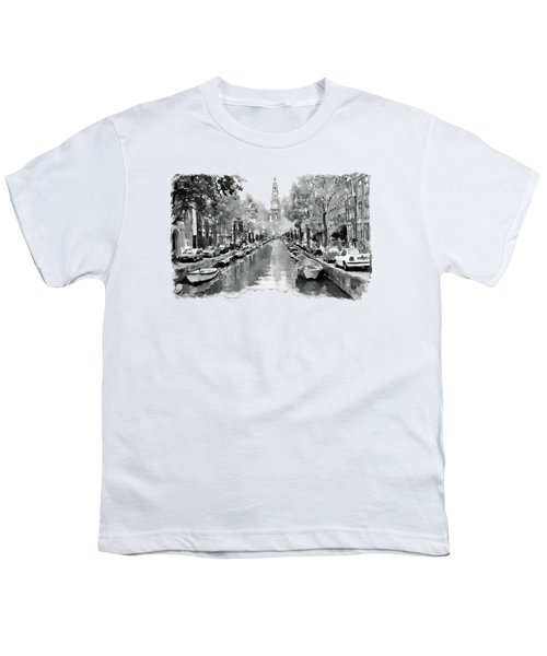 Amsterdam Canal 2 Black And White Youth T-Shirt