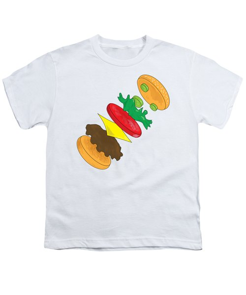 Anatomy Of Cheeseburger Youth T-Shirt by Ben Shurts