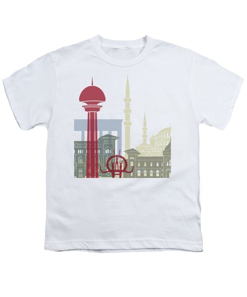 Ankara Skyline Poster Youth T-Shirt by Pablo Romero