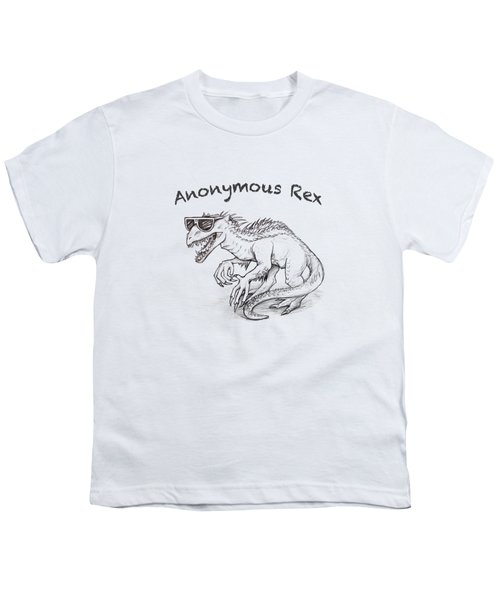 Youth T-Shirt featuring the drawing Anonymous Rex T-shirt by Aaron Spong