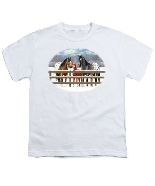 Appaloosa Horses In Winter Ranch Corral Youth T-Shirt