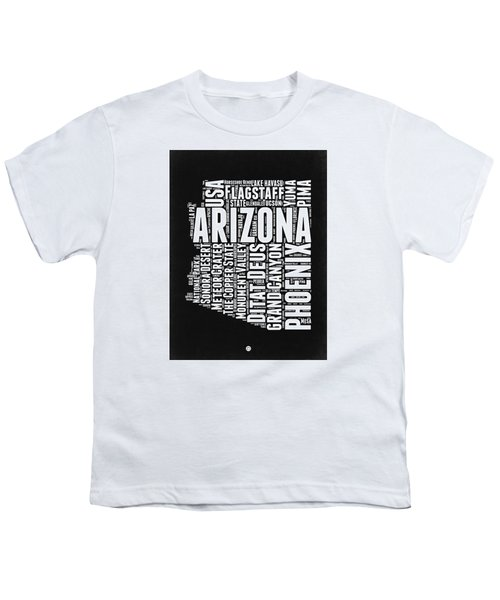 Arizona Black And White Word Cloud Map Youth T-Shirt by Naxart Studio