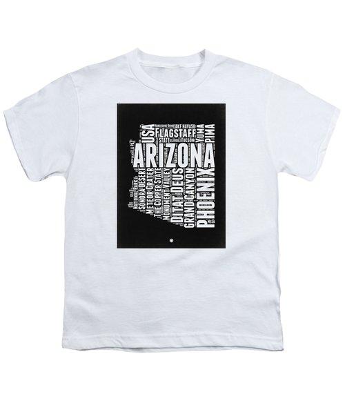 Arizona Black And White Word Cloud Map Youth T-Shirt