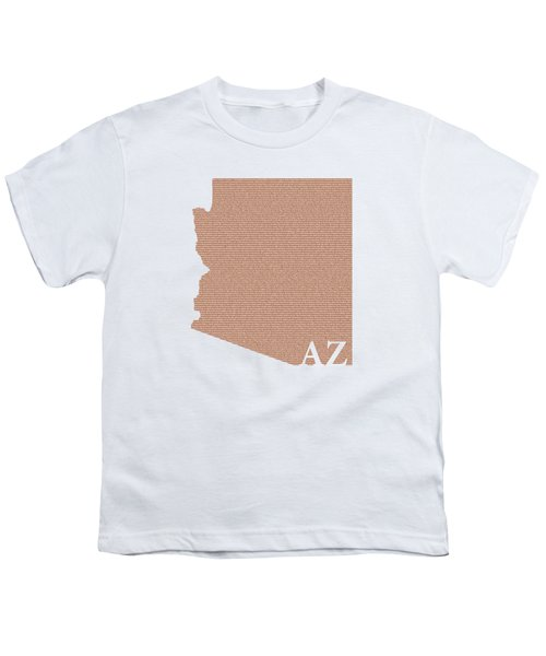 Arizona State Map With Text Of Constitution Youth T-Shirt by Design Turnpike