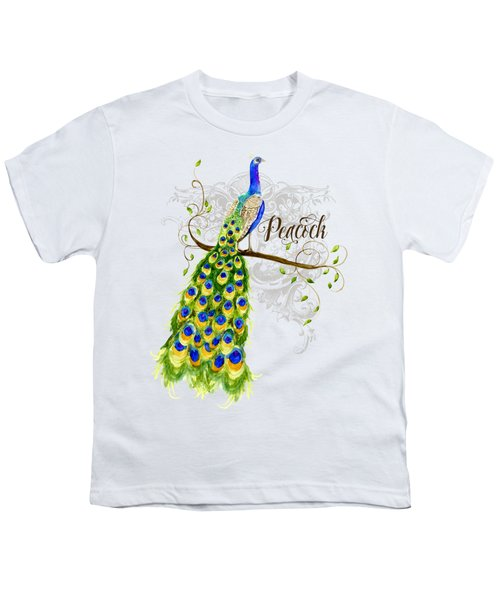 Art Nouveau Peacock W Swirl Tree Branch And Scrolls Youth T-Shirt by Audrey Jeanne Roberts