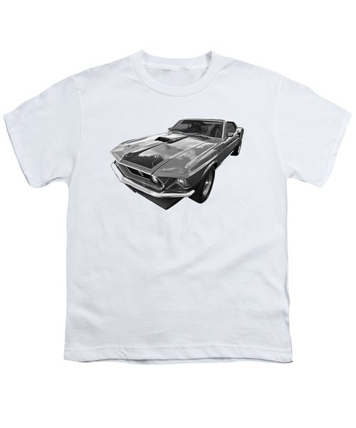 428 Cobra Jet Mach1 Ford Mustang 1969 In Black And White Youth T-Shirt by Gill Billington