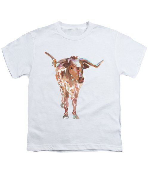 The Original Longhorn Standing Earth Quack Watercolor Painting By Kmcelwaine Youth T-Shirt
